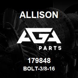 179848 Allison BOLT-3/8-16 | AGA Parts