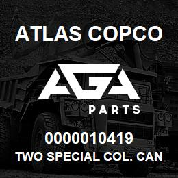 0000010419 Atlas Copco TWO SPECIAL COL. CAN. XRXS-XRV | AGA Parts