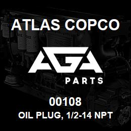 00108 Atlas Copco OIL PLUG, 1/2-14 NPT, SQ. HD. | AGA Parts