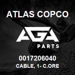 0017206040 Atlas Copco CABLE, 1- C.ORE | AGA Parts