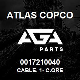 0017210040 Atlas Copco CABLE, 1- C.ORE | AGA Parts