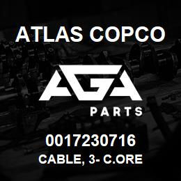 0017230716 Atlas Copco CABLE, 3- C.ORE | AGA Parts