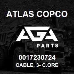 0017230724 Atlas Copco CABLE, 3- C.ORE   AGA Parts