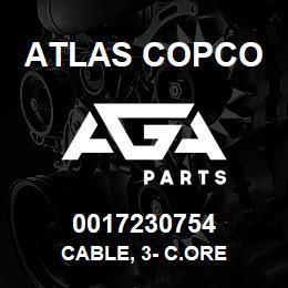 0017230754 Atlas Copco CABLE, 3- C.ORE   AGA Parts