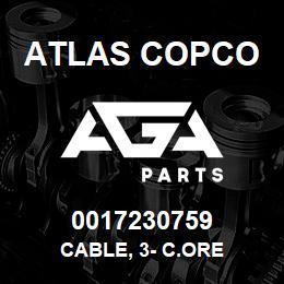 0017230759 Atlas Copco CABLE, 3- C.ORE | AGA Parts