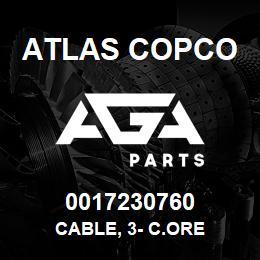 0017230760 Atlas Copco CABLE, 3- C.ORE   AGA Parts