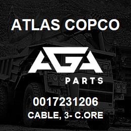 0017231206 Atlas Copco CABLE, 3- C.ORE | AGA Parts
