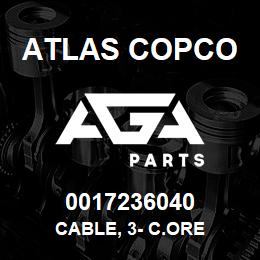 0017236040 Atlas Copco CABLE, 3- C.ORE | AGA Parts