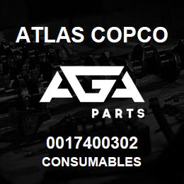 0017400302 Atlas Copco CONSUMABLES | AGA Parts
