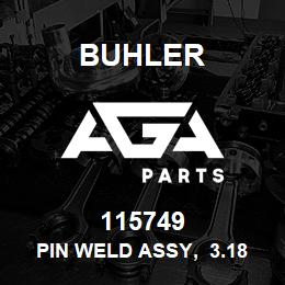 115749 Buhler Pin Weld Assy, 3.18 x 13.33 cm (1.25 x 5.25) | AGA Parts