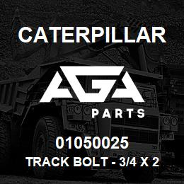 01050025 Caterpillar TRACK BOLT - 3/4 X 2-13/32 UNF (61) | AGA Parts