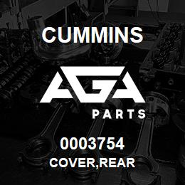 0003754 Cummins COVER,REAR | AGA Parts