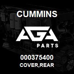 000375400 Cummins COVER,REAR | AGA Parts