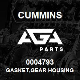 0004793 Cummins GASKET,GEAR HOUSING | AGA Parts