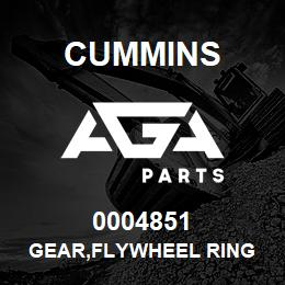 0004851 Cummins GEAR,FLYWHEEL RING | AGA Parts