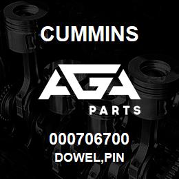 000706700 Cummins DOWEL,PIN | AGA Parts
