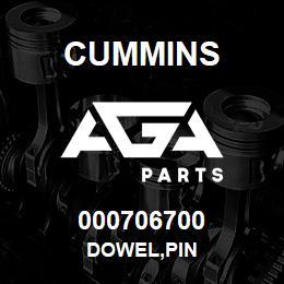 000706700 Cummins DOWEL,PIN | AGA Parts