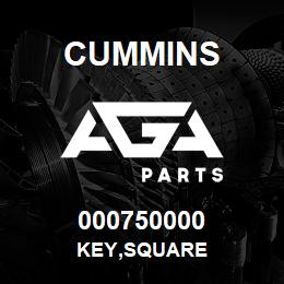 000750000 Cummins KEY,SQUARE | AGA Parts
