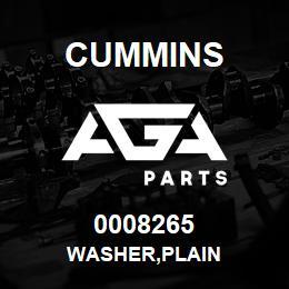 0008265 Cummins WASHER,PLAIN   AGA Parts
