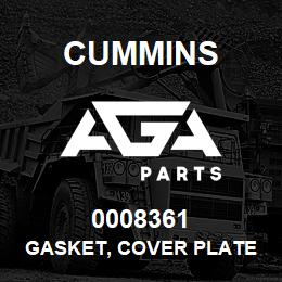 0008361 Cummins GASKET, COVER PLATE | AGA Parts