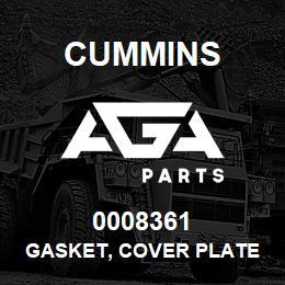 0008361 Cummins GASKET, COVER PLATE   AGA Parts