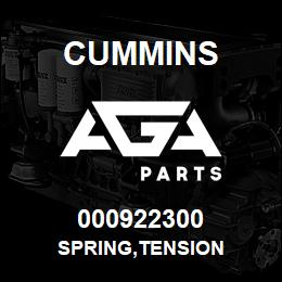 000922300 Cummins SPRING,TENSION | AGA Parts