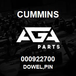 000922700 Cummins DOWEL,PIN | AGA Parts