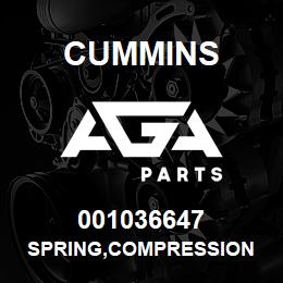 001036647 Cummins SPRING,COMPRESSION | AGA Parts