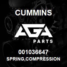 001036647 Cummins SPRING,COMPRESSION | AGA Parts