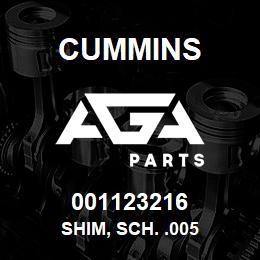 001123216 Cummins SHIM, SCH. .005 | AGA Parts