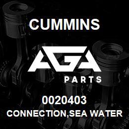 0020403 Cummins CONNECTION,SEA WATER | AGA Parts