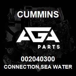 002040300 Cummins CONNECTION,SEA WATER | AGA Parts