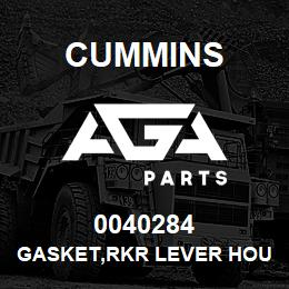 0040284 Cummins GASKET,RKR LEVER HOUSING | AGA Parts