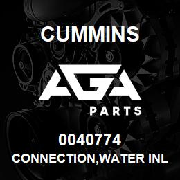 0040774 Cummins CONNECTION,WATER INLET | AGA Parts