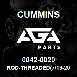 0042-0020 Cummins ROD-THREADED(7/16-20X4.25`) | AGA Parts