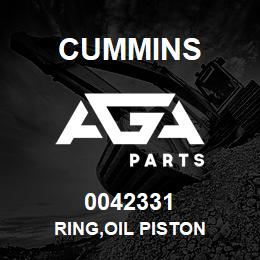 0042331 Cummins RING,OIL PISTON | AGA Parts