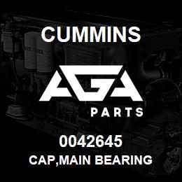 0042645 Cummins CAP,MAIN BEARING | AGA Parts