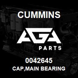 0042645 Cummins CAP,MAIN BEARING   AGA Parts