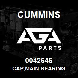 0042646 Cummins CAP,MAIN BEARING | AGA Parts