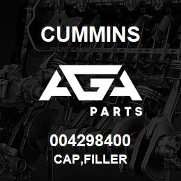 004298400 Cummins CAP,FILLER | AGA Parts