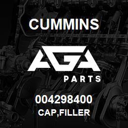 004298400 Cummins CAP,FILLER | AGA Parts