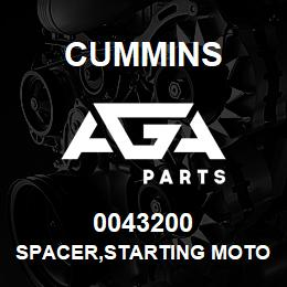 0043200 Cummins SPACER,STARTING MOTOR | AGA Parts