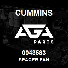 0043583 Cummins SPACER,FAN | AGA Parts