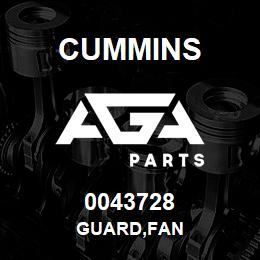 0043728 Cummins GUARD,FAN | AGA Parts