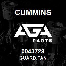 0043728 Cummins GUARD,FAN   AGA Parts