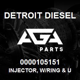 0000105151 Detroit Diesel Injector, w/Ring & U-Groove | AGA Parts