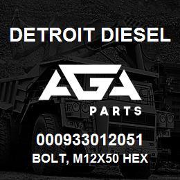 000933012051 Detroit Diesel Bolt, M12x50 Hex | AGA Parts