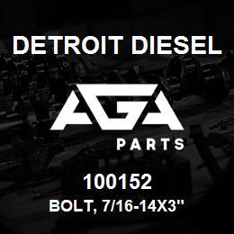 100152 Detroit Diesel Bolt, 7/16-14x3
