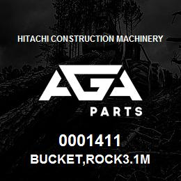 0001411 Hitachi BUCKET,ROCK3.1M | AGA Parts