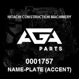 0001757 Hitachi NAME-PLATE (ACCENT) | AGA Parts